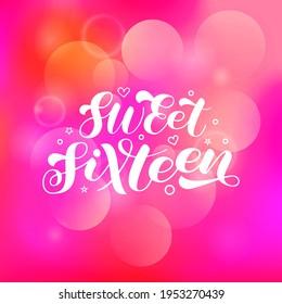 Sweet Sixteen brush lettering. 16x birthday girl. Phrase for shirt. Vector stock illustration