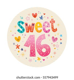 Sweet Sixteen decorative unique lettering design