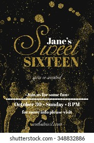 Sweet sixteen glitter party invitation flyer template design. Abstract  background for card, flyer, leaflet, brochure, banner, web design.
