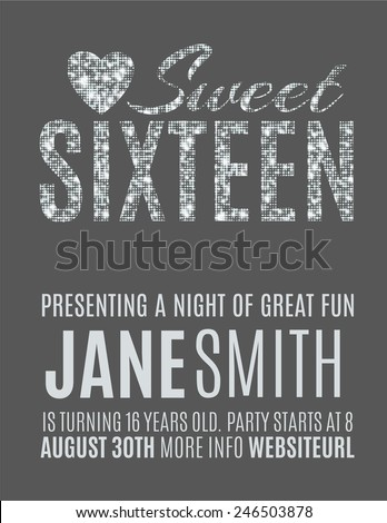 sweet sixteen glitter party invitation flyer stock vector royalty