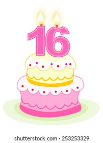 Sweet sixteen layered birthday cake with numeral candles isolated on white