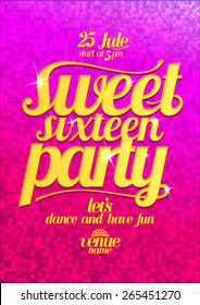 Sweet sixteen party fashion pink poster with gold letters and sparkles