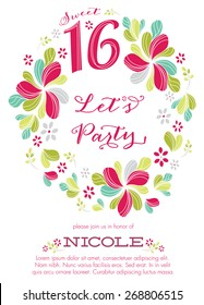 Sweet Sixteen Party Invitation Template - Vector