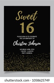 Sweet Sixteen party vector printable invitation card with golden glitter elements