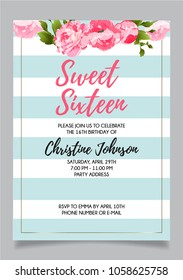 Sweet Sixteen party vector printable invitation card with floral elements
