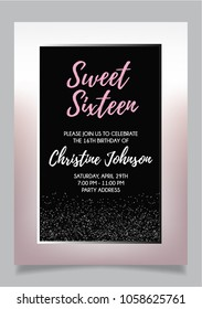 Sweet Sixteen party vector printable invitation card with silver glitter elements