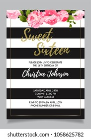 Sweet Sixteen party vector printable invitation card with golden glitter and floral elements
