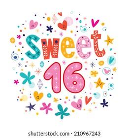 Sweet Sixteen text decorative retro typography lettering