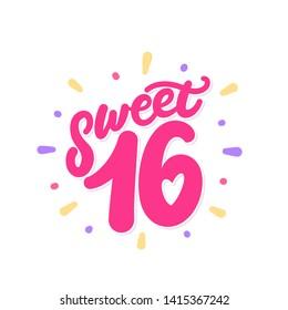 Sweet sixteen. Vector lettering invitation.