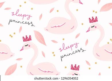 Sweet sleepy princess swan pattern. Cute nursery childish print. Cartoon hand drawn vector illustration.