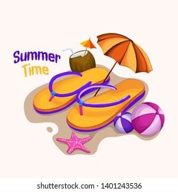 sweet slipper summer time vector