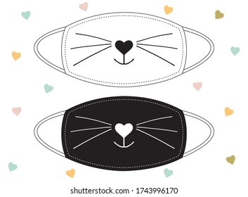 Sweet smiling cat snout black on white background and inverted. Nose in the form of a heart and a cat's mustache. Set of designs for decorating of textil fabric face masks or other clothes.