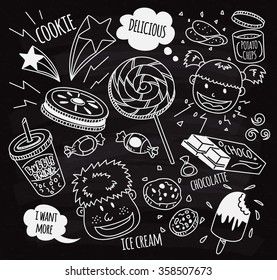 Sweet and snack with happy kids doodle on chalk board