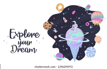Sweet space cartoon poster with fantasy chocolate cookie, candy, donut, caramel sweets planets and astronaut. Birthday party invitation, Fantasy galaxy game concept. Editable vector illustration
