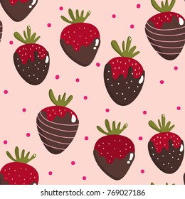 Sweet strawberry chocolate seamless pattern and vector