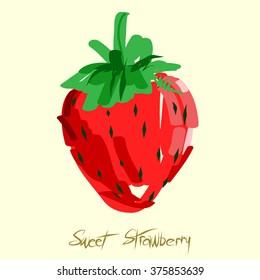 Sweet strawberry fruit doodle. Vector illustration