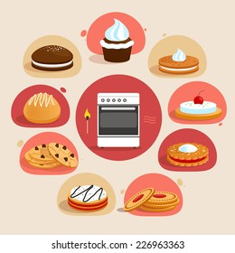 Sweet sugar tasty food cookies bakery decorative icons set with oven in the middle isolated vector illustration