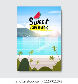 sweet summer landscape palm tree beach badge Design Label. Season Holidays lettering for logo,Templates, invitation, greeting card, prints and posters. vector illustration