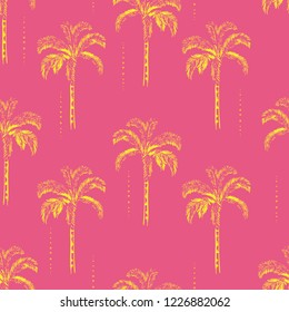 Sweet summer Palm and coconut trees silhouette on the fresh pink background. Vector seamless pattern with tropical plants design for fashion,fabric wallapaper and all prints