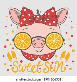 Sweet Sun slogan with fun piggy girl face, orange sunglasses, footprint for t-shirt graphics, fashion prints, posters and other uses