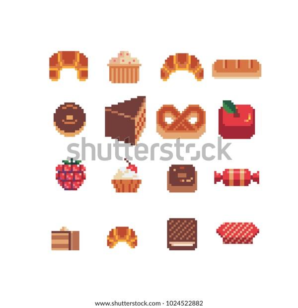 Image Vectorielle De Stock De Sweet Tasty Food Pixel Art
