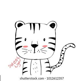 Sweet tiger hand drawing illustration vector.