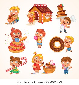 Sweet tooth. Cute toddler boy eating ice-cream. Boy soiled himself cake. Pastry chef brings sweetness. Pretty girl jump out of a large birthday cake. Gingerbread house. Funny cartoon character. Set