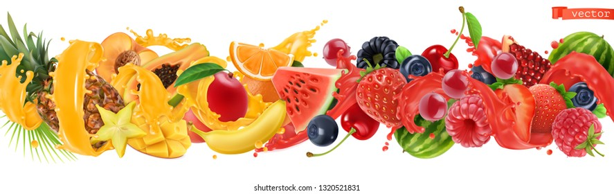 Sweet tropical fruits and mixed berries. Splash of juice. Watermelon, banana, pineapple, strawberry, orange, mango, blueberry, cherry, raspberry, papaya. 3d vector realistic, high quality 50mb eps