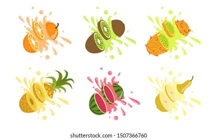 Sweet Tropical Fruits and Splashes Set, Orange, Kiwi, Kiwano Melon, Pineapple, Watermelon, Pear Vector Illustration