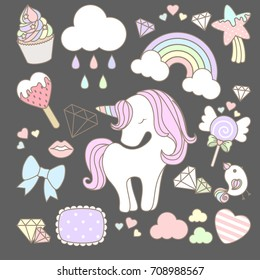 Sweet unicorn element with cute items.