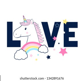 Sweet unicorn illustration and love slogan vector for print design.