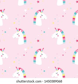 Sweet unicorn pattern seamless illustration vector for print design.