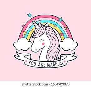 Sweet unicorn and rainbow illustration vector for print design.