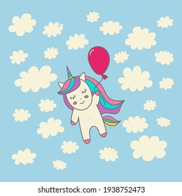 Sweet unicorn in the sky. Ideal for nursery posters, invitations, greeting cards, print for clothes, mugs, pillows, stickers. For banners, websites, blogs, booklets, flyers, books illustrations.