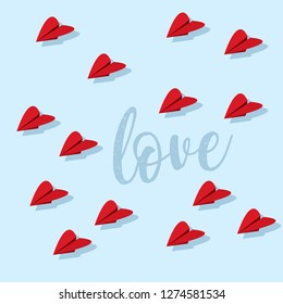 Sweet valentine's day card design with paper airplane hearts