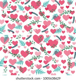 Sweet valentine's pattern with hearts and flowers