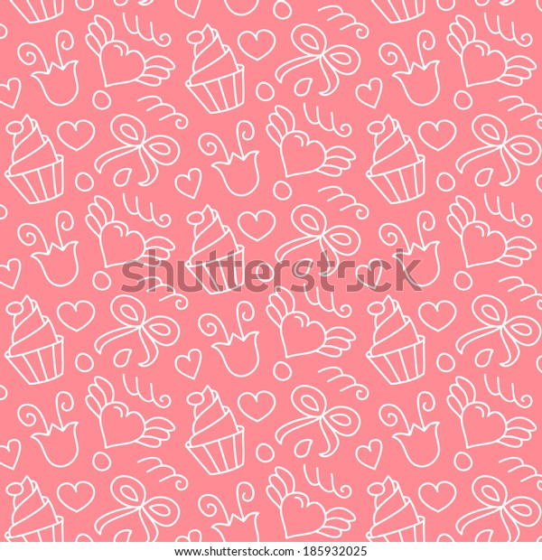 Sweet vector seamless pattern with hearts, cupcakes, flowers, bows. Cute girlish   hand drawn background. Endless texture gentle color, can be used for wallpaper, website background, textile printing.
