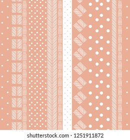 Sweet vintage pattern mixed polka dots geometric  and hand drawn line on stripe design for fashion,fabric ,and all prints on pink nude brush background color