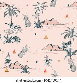 Sweet vintage summer island tropical seamless pattern on pink background for fashion fabric and all prints,wallpaper