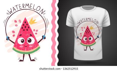 Sweet watermelon - idea for print t-shirt. Hand draw