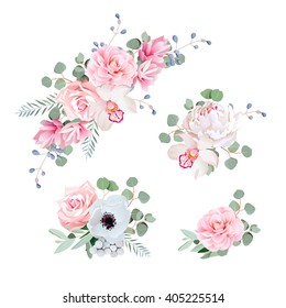 Sweet wedding bouquets of rose, peony, orchid, anemone, camellia, blue berries and eucalyptus leaves. Vector design elements.