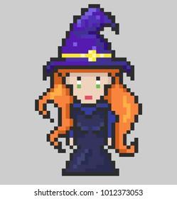 Sweet witch in a purple hat, pixel art, illustration
