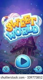 Sweet world mobile game user interface GUI  boot loading screen  for video web design