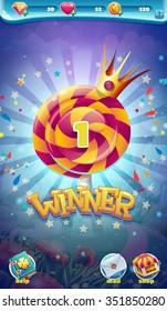 Sweet world mobile game user interface GUI winner window