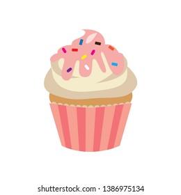 Sweet yummy cupcake, creamy cake, vector ilustration
