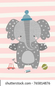 Sweetest baby elephant in the hat. Vector illustration in Scandinavian style. Funny, cute poster.