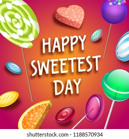 Sweetest candy day concept background. Isometric illustration of sweetest candy day vector concept background for web design