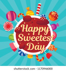 Sweetest day concept background. Flat illustration of sweetest day vector concept background for web design
