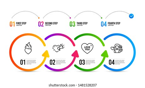 Sweetheart, Heart, Romantic people. Infographics timeline. Love you, Love message and Heart flame line icons set. Love set. Love you icon. Timeline diagram. Vector