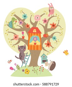 Sweetheart illustration. Tree and animals.